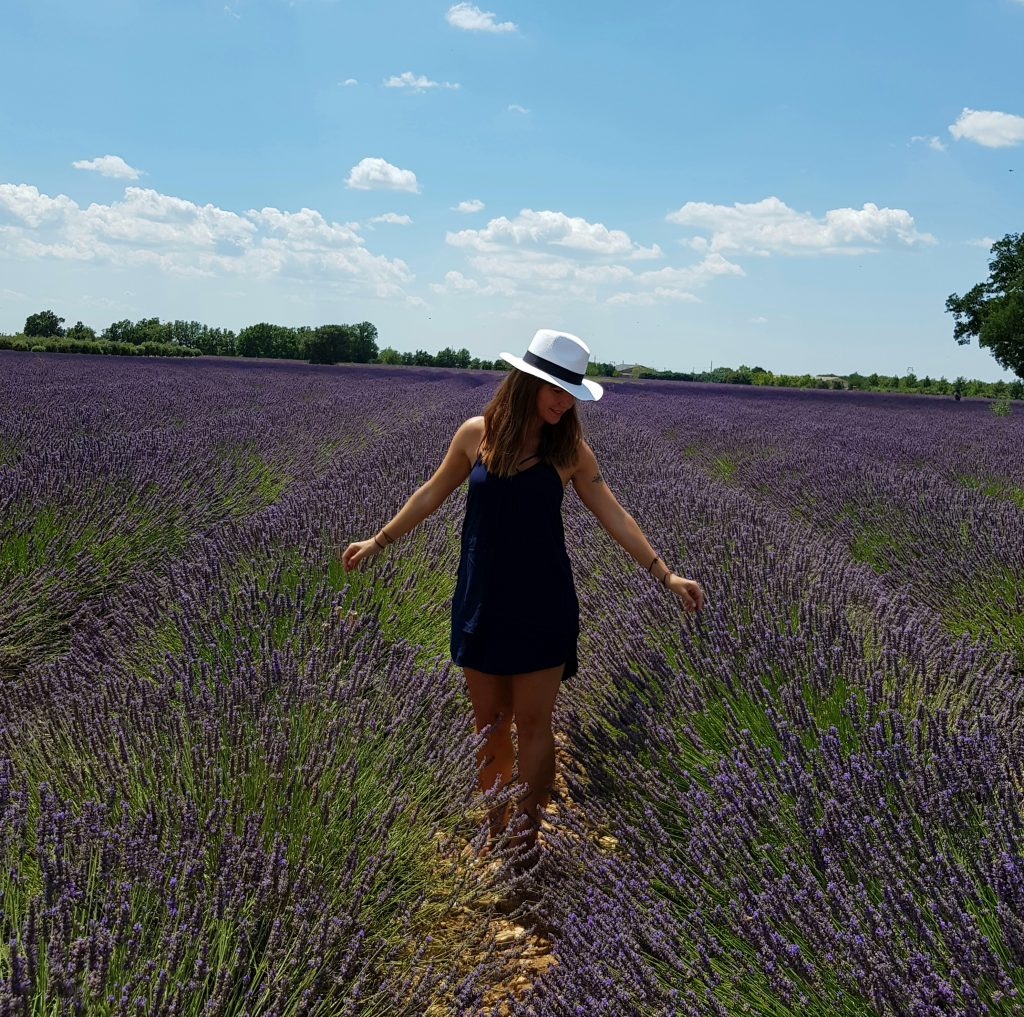 Francesca enjoying lavender field